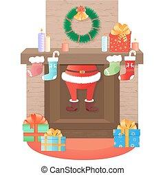 decoration., subidas, claus, santa, fireplace., natal, saída