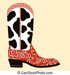 decoration., symbol, stiefel, cowboy, westlich