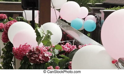 Decoration with balloons on street