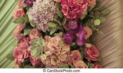 Decoration with fresh flowers. Close up
