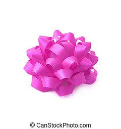 Decorational ribbon gift bow isolated