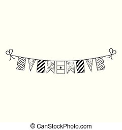 Decorations bunting flags for Egypt national day holiday in black outline flat design