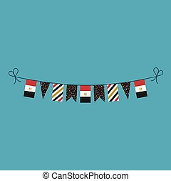 Decorations bunting flags for Egypt national day holiday in flat design