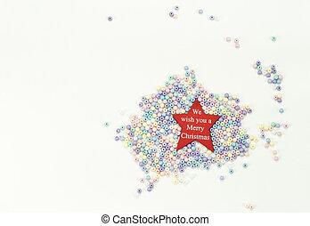 decorations:, contas, estrela, natal, 2019, feliz, ano, novo, feriado, composição, vermelho, feliz