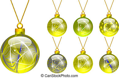 decorations for Christmas tree yellow