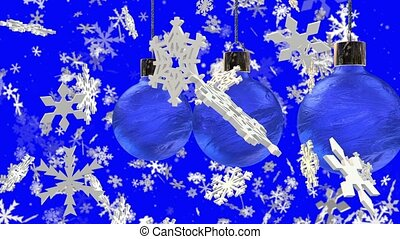 Decorations for Christmas trees and slowly falling snowflakes on blue