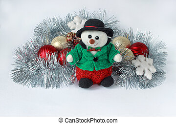 Decorations for the new year and christmas. Isolated on a white background.