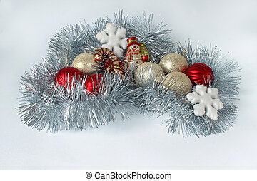 Decorations for the new year and christmas isolated on a white background.