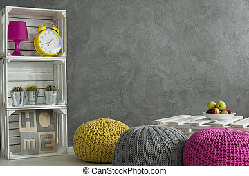 Decorations in concrete room