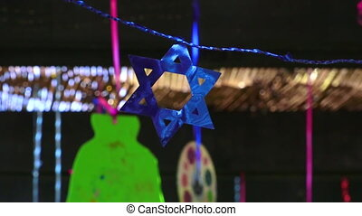 Decorations inside a Jewish Sukkah