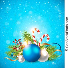 Decorations on a blue background.