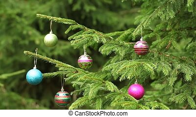 Decorations on Christmas trees