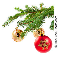 decorations on pine branches