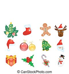decorations - Vector illustration of Christmas elements...