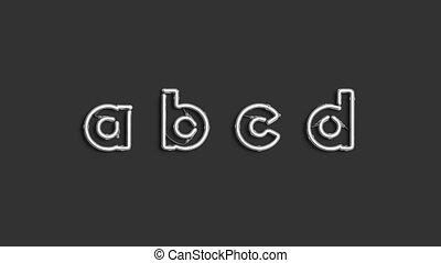 Decorative a b c d letters, neon font mockup, 4k video, ...