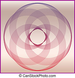 Decorative abstract circular shape with faded colors on copper degrading background