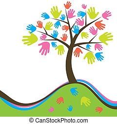 Decorative abstract hand tree, vector