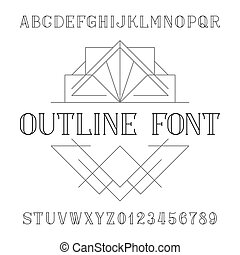 Decorative alphabet vector font in trendy outline style. Serif type letters and numbers.