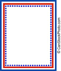 Decorative American Patriotic border with USA flag symbols.