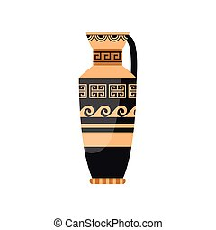 Decorative ancient greek vase with wave spiral ornament