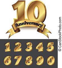 Decorative anniversary golden emblem - vector illustration.