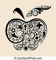 Apple drawing with floral ornament decoration. Use for tattoo, t-shirt, or any design you want. Easy to edit color.