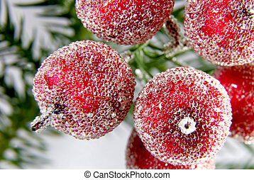 decorative six red apples on the christmas tree