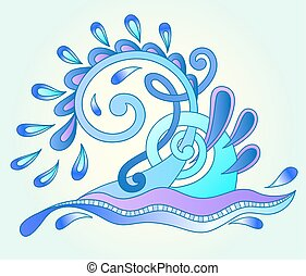 decorative aquatic blue wave with sparks and drops, water...