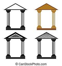 Decorative arches. - Four decorative arches on a white...