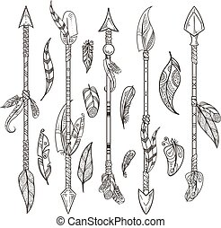 Decorative arrows and feathers set in boho style. Native indian vector ornament