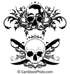 decorative art background with skull - decorative art...