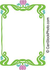 Decorative Art Nouveau Frame - Beautiful decorative floral...
