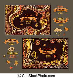 decorative autumn cartoon cards design - Vector set of...
