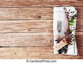 Decorative Autumn Table with vintage silverware and serviette