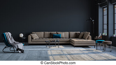 Decorative backdrop of a room at home, office and hotel. Modern sofa interior design and bright modern interior details against the background of a wall and a window.