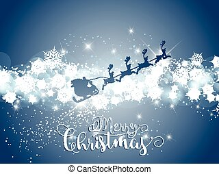 Decorative background for Christmas with santa and reindeer