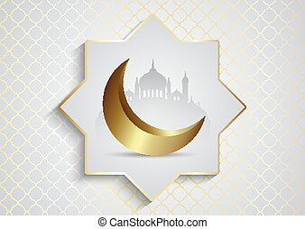 decorative background for Ramadan Kareem with mosques and crescent 2703