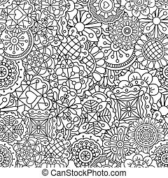 Decorative background of full frame designs in geometric shapes and kaleidoscope forms