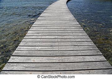 Decorative background of old wooden bridge floor