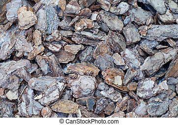 Decorative background of pieces of tree bark for garden design.
