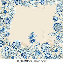 Decorative background with blue flowers