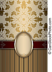 Decorative background with frame and patterns.