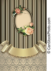 Decorative background with frame and ribbon.