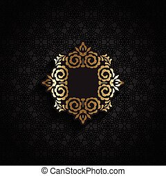 Decorative background with metallic coloured label