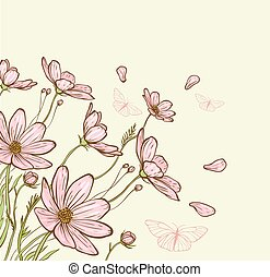 Decorative background with pink cosmos flowers and butterflies. Hand drawn vector illustration.