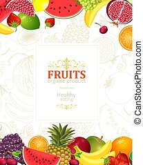decorative banner with borders of fresh fruits and berries for y
