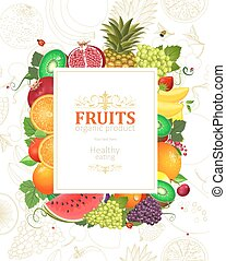 decorative banner with frame of fresh fruits and berries for you