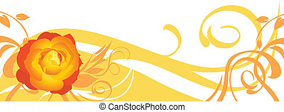 Decorative banner with rose
