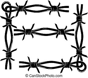 barbed wire frame - decorative barbed wire frame vector...