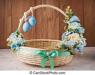 Decorative basket decorated with flowers